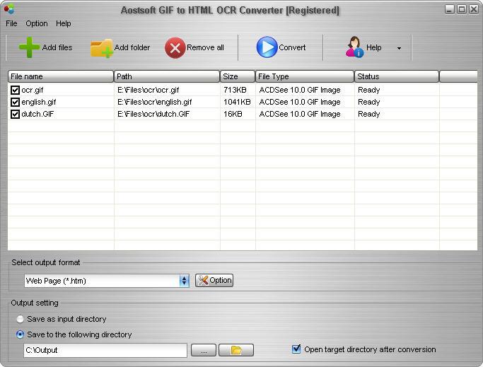Aostsoft GIF to HTML OCR Converter screenshot